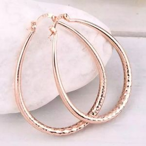 Pink Rose Gold Hoop Earrings